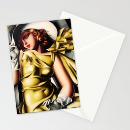 Girl in a Yellow Dress Art Deco Haute Couture portriat painting Tamara de Lempicka Stationery Cards