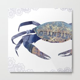 Manhole Crab with Lace Metal Print