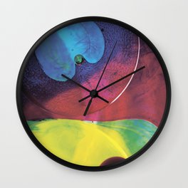 Blue yellow green abstract Wall Clock