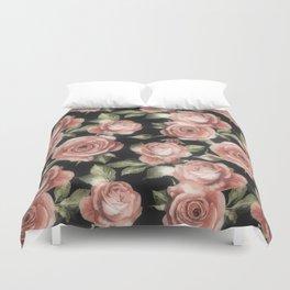 Classic Pink Roses On Black Duvet Cover