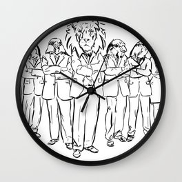 drawing men with animal heads. Lion and birds Wall Clock