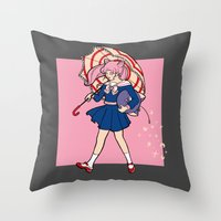 magical girl Throw Pillows featuring Salty Magical Girl by eriphyle