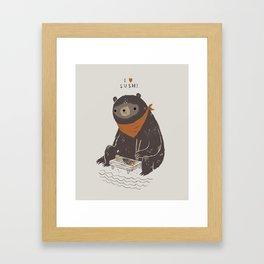 sushi bear Framed Art Print