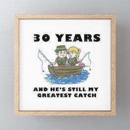 Anniversary 30 Couple Fishing Wife Husband Gift Framed Mini Art Print