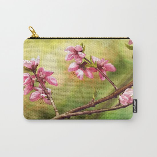 Spring and pink flowers on a branch Carry-All Pouch