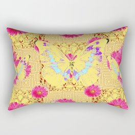 Abstract Fuchsia Pink Gerber Flower & Yellow Butterfly Patterns Rectangular Pillow