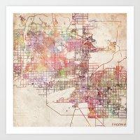 phoenix Art Prints featuring Phoenix  by MapMapMaps.Watercolors