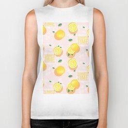 Watercolor Lemon Pattern Biker Tank