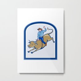 Illustration of rodeo cowboy riding bucking bull on isolated white background. Metal Print