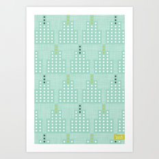 Art Deco Towers Aqua Art Print