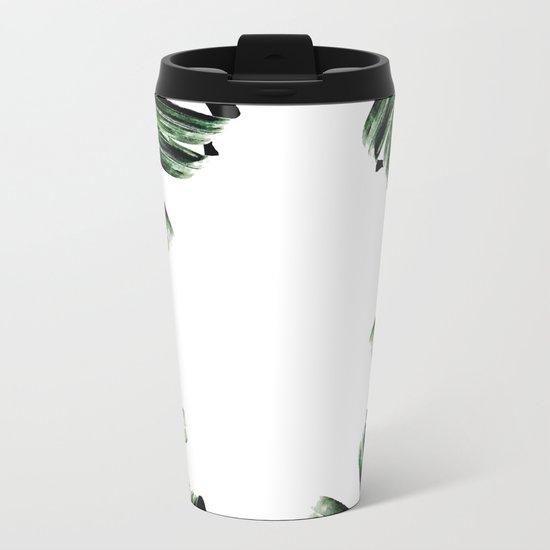 Palm Leaf Watercolor Pattern #society6 #decor #buyart Metal Travel Mug