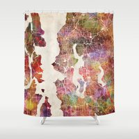 cincinnati Shower Curtains featuring Seattle map by Map Map Maps