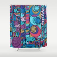 stained glass Shower Curtains featuring Stained Glass by Helene Michau