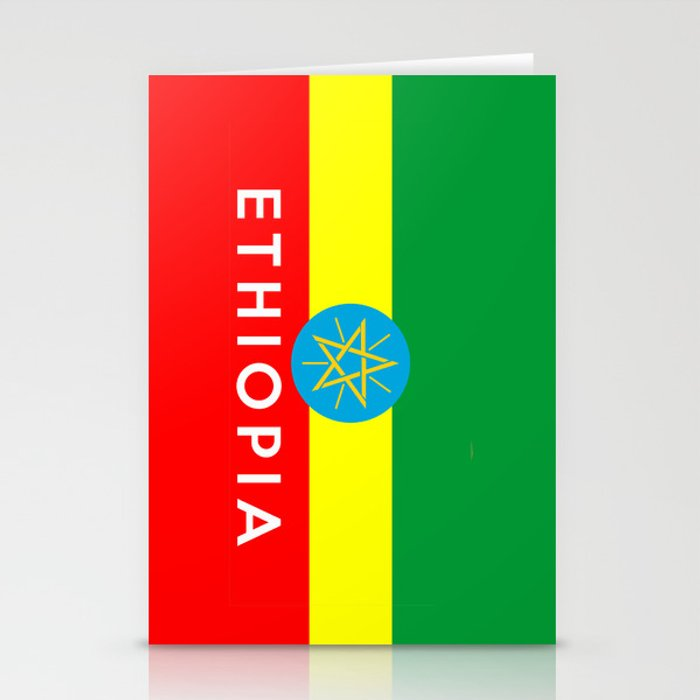 Ethiopia country flag name text Stationery Cards