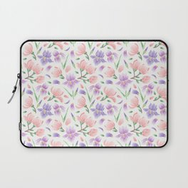 Magnolia and Iris Embroidery Style Laptop Sleeve