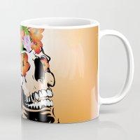 sugar skull Mugs featuring Sugar skull by nicky2342