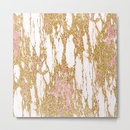 Gold Marble - Intense Glittery Yellow and Rose Gold Marble Metal Print