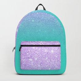 Modern mermaid lavender glitter turquoise ombre pattern Backpack