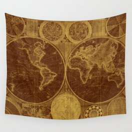 World Map (1794) Brown & Light Brown Wall Tapestry