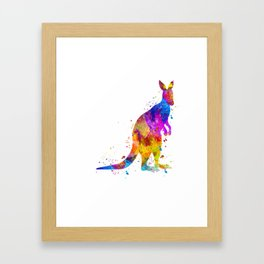 Watercolor Kangaroo Framed Art Print