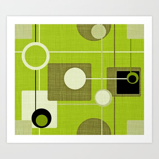orbs and squares acid green Art Print