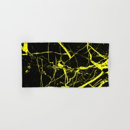 Yellow Marble Pattern - Abstract, black and yellow Hand & Bath Towel