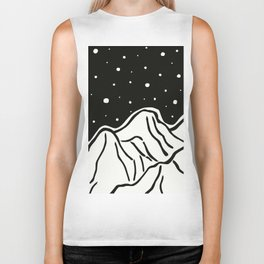 Starry Night over Winter Mountains Biker Tank