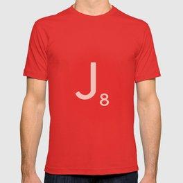 Pink Scrabble Letter J - Scrabble Tile Art and Accessories T-shirt