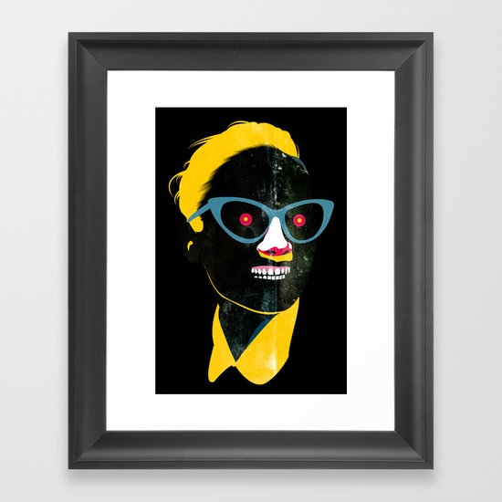 Smile in black Framed Art Print