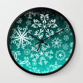 Symbols in Snowflakes on Winter Green Wall Clock