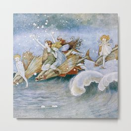 """""""Flying Fish Riders"""" by Ida Rentoul Outhwaite (1916) Metal Print"""