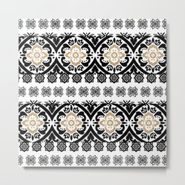 Black white faux gold glitter hand painted floral aztec Metal Print
