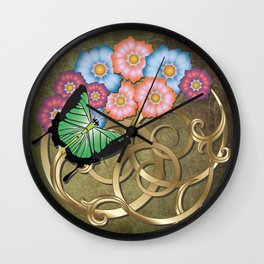 Butterfly and flowers on gold scrollwork Wall Clock