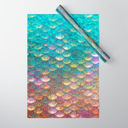 Aqua and Gold Mermaid Scales Wrapping Paper