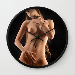 1143-JAL Beautiful Young Woman in Spike Collar Kneeling Nude on Platform Wall Clock