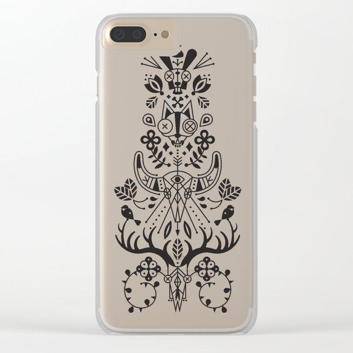 La Vie + La Mort: Black Ink Clear iPhone Case