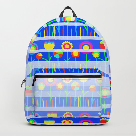Floral spring party in blue Backpack