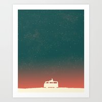 happiness Art Prints featuring Quiet Night - starry sky by Picomodi