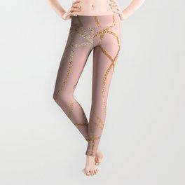 Rose gold millennial pink blooms Leggings