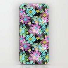 Floral pattern on a dark background. iPhone Skin