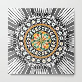 High contrast mandala Metal Print