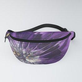Purple flower in the rain Fanny Pack