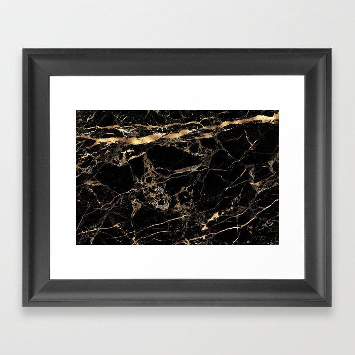 Marble, Black + Gold Veins Gerahmter Kunstdruck
