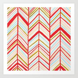 red chevron pattern Art Print