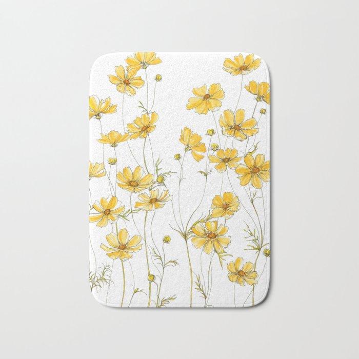 Yellow Cosmos Flowers Badematte