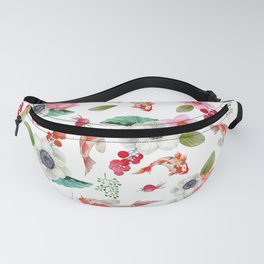 Modern pink red watercolor tropical floral koi fish pattern Fanny Pack