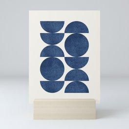 Blue navy retro scandinavian Mid century modern Mini Art Print