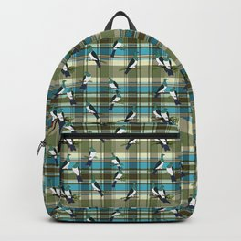 Kereru on green and turquoise plaid Backpack