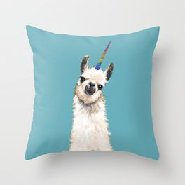 Unicorn Llama Blue Throw Pillow