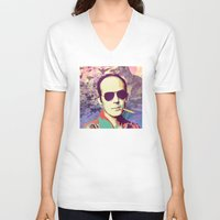 hunter s thompson V-neck T-shirts featuring Hunter S. Thompson by victorygarlic - Niki